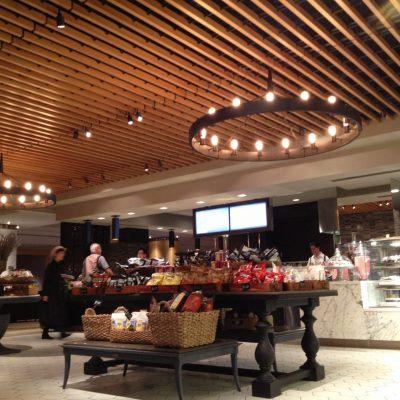 9Wood 1200 Dowel Grille at Hilton Midtown Herb N' Kitchen, New York, New York. Callison Architects.