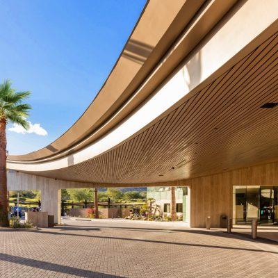 Exterior wood ceilings can make a bold welcoming statement for your project. This exterior linear wood is stained hemlock carefully sealed for exterior environments..