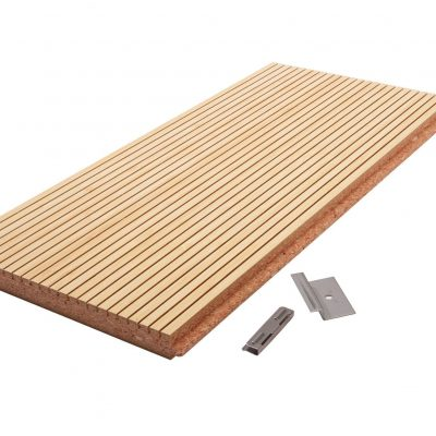 Acoustic planks like seen here usually have small grooves in the face of the plank. These grooves are what alter the travel of sound waves.