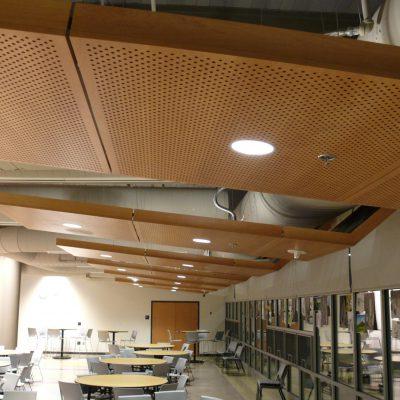 9Wood 5200 Staggered Perf Tile at Norton High School, Norton, Massachusetts. JCJ Architecture.