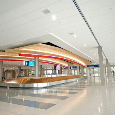 9Wood 8300 Acoustic Wood Wave at Sacramento International Airport (Landside), Sacramento, California. Corgan; Fentress Architects.