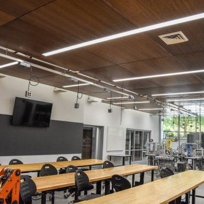 9Wood 3100 Acoustic Plank at Linn-Benton Community College Mechatronics, Albany, Oregon. Pivot Architecture.