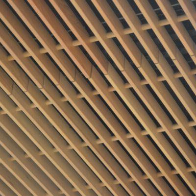 9Wood 1400 Dowel/Cross Piece Grille at Eugene Airport, Eugene, Oregon. RS&H Oregon.