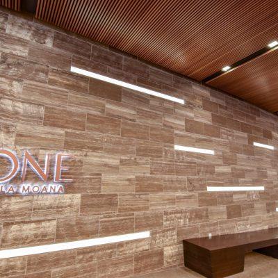9Wood 1100 Cross Piece Grille at ONE Ala Moana, Honolulu, Hawaii. SCB, Philpotts Interiors.