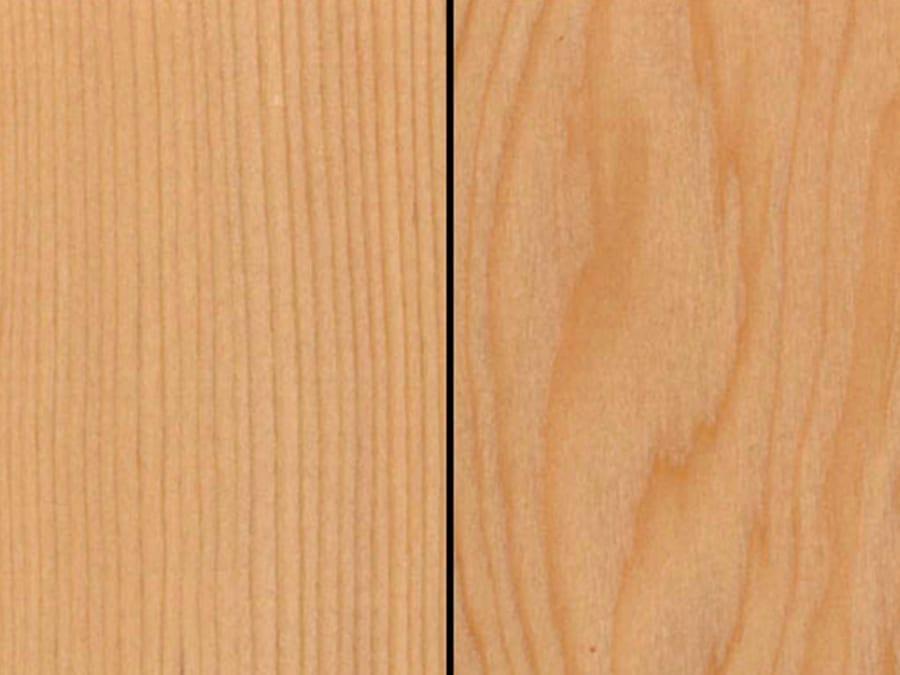Specie profile of western hemlock showing both vertical grain on the left and mixed/flat grain on the right.