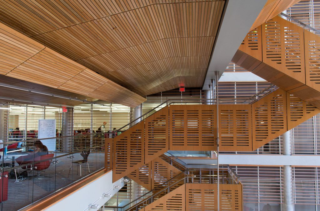 The Bill and Melinda Gates Computer Science complex has a beautiful wood ceiling from 9Wood.