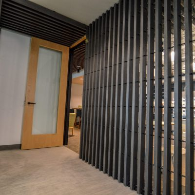 9Wood 1400 Dowel/Cross Piece Grille at the Yarmuth Wilsdon Offices, Seattle, Washington. SkB Architects.
