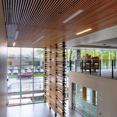 9Wood 1100 Cross Piece Grille at the SAIF Headquarters in Salem, Oregon. Ankrom Moisan Architects.