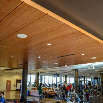 9Wood 5100 Parallel Perf Tile at the ASU Sun Devils Fitness Complex expansion, Tempe, Arizona.  Studio Ma and Sasaki Associates. Photo: Marshall Roemen.