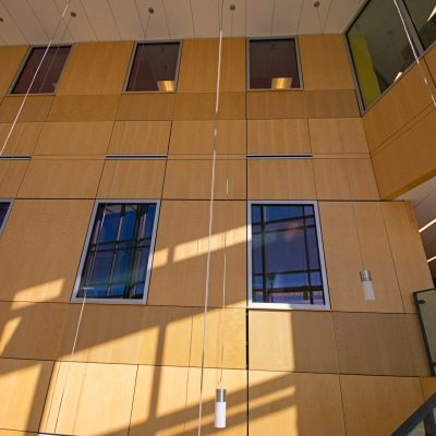 9Wood 4900 Wall Tile at the CU Colorado Springs Lane Center for Academic Health Sciences.  AndersonMasonDale Architects.