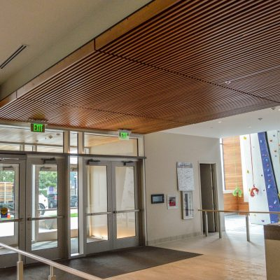 9Wood 1400 Dowel/Cross Piece Grille at the University of Portland Recreation Center. 360 Architecture.
