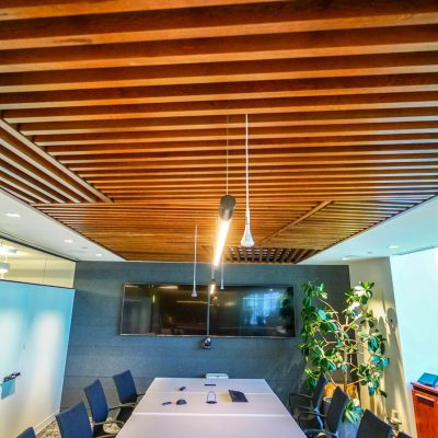 9Wood 1100 Cross Piece Grille at PGL Environmental, Vancouver, BC. SSDG Interiors. Photo: Chris Barton.