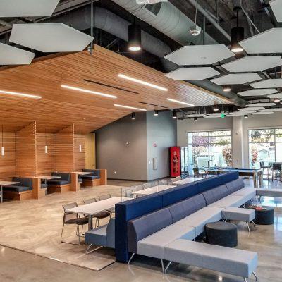 suspended wooden ceiling in building common area
