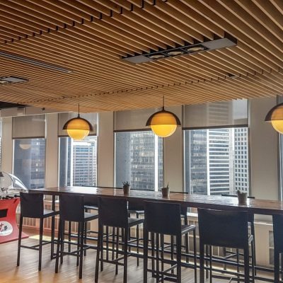 9Wood 1100 Cross Piece Grille wood ceiling installation at the Joey's Restaurants Head Office, Vancouver, British Columbia. SSDG Interiors.