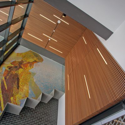 9Wood 1100 Cross Piece Grille at The Addition, Vancouver, B.C. Kodu Design.