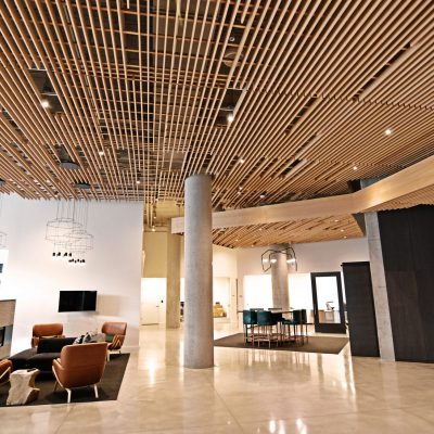 Wood grille ceiling for high end apartment building lobby