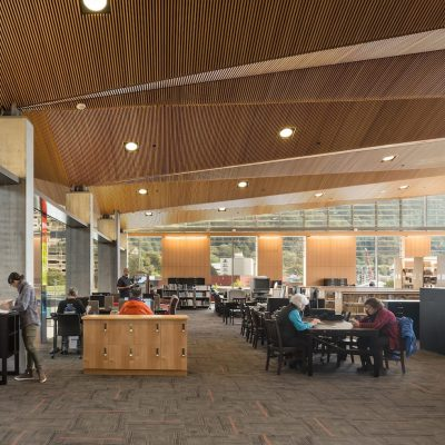 9Wood's 1100 Cross Piece Grill in Solid Western Hemlock with Stain at Alaska State Library, Archives and Museum, Juneau, Alaska. Hacker Architects. Photo: Lara Swimmer.