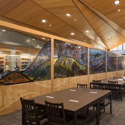 9Wood's 1100 Cross Piece Grill in Solid Western Hemlock with Stain at Alaska State Library, Archives and Museum, Juneau, Alaska. Hacker Architects. Photo: Lara Swimmer. The state library, archives and museum features 21,250 sq ft. of solid Western Hemlock, wood grille ceilings in its lobby, library, and reading room. Photo: Lara Swimmer.