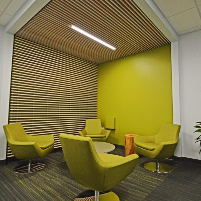 9Wood 1100 Cross Piece Grille at Adler Pharmaceuticals, Bothel, Washington. Perkins + Will.