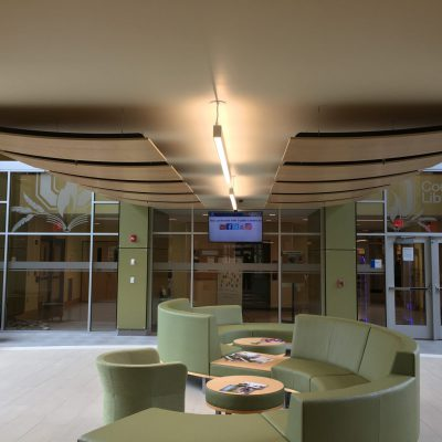 9Wood 8500 Perf Wood Wave at Onondaga Community College, Syracuse, New York. JMZ Architects and Planners.
