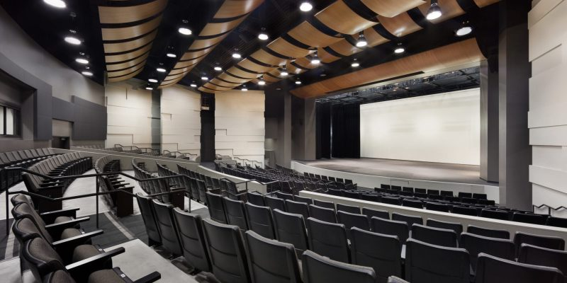 acoustic wood ceilings using a wood tile wave at san marcos hs in san marcos california