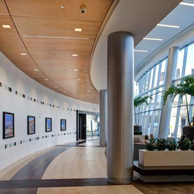 9Wood 3200 Acoustic Tile at Baylor Sammons Cancer Center, Dallas, Texas. Perkins + Will. Photo: Mark Menjivar.