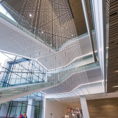 9Wood 1400 Dowel/Cross Piece Grille at Hillwood Offices at Turtle Creek, Dallas, Texas. Mithun; BOKA Powell. Photo: Irish Coffee Studio.