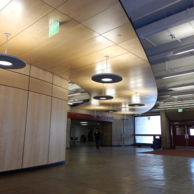 9Wood 4400 Torsion Spring Tile, White Maple Veneer with Clear Finish, at UMass Amherst Lincoln Campus Center, Amherst, Massachusetts. Cambridge Seven Associates.