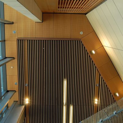 9Wood 5200 Staggered Perf Tile at UC Berkeley Li Ka Shing Center, Berkeley, California. ZGF Architects.