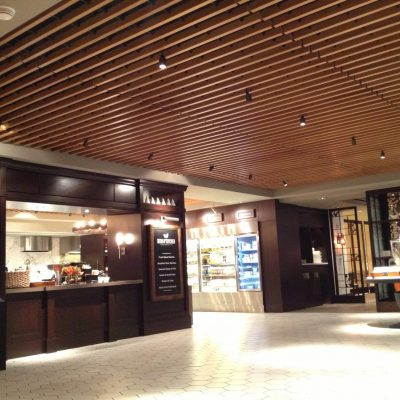 9Wood 1200 Dowel Grille at Hilton Midtown Herb N' Kitchen, New York, New York. Callison Architects.