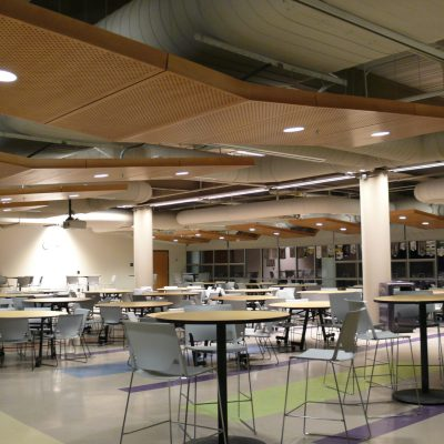 9Wood 5200 Staggered Perf Tile at Norton High School, Norton, Massachusetts. JCJ Architecture.