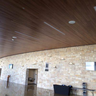 9Wood 2400 T & G Linear at One Community Church, Plano, Texas. Omniplan.