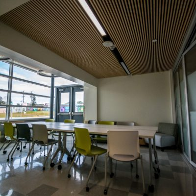 9Wood 1100 Cross Piece Grille at Swansea Elementary, Denver, Colorado. AndersonMasonDale Architects.
