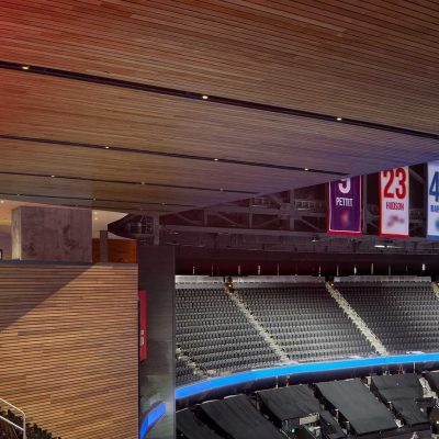 9Wood's 2300 Continuous Linear in White Oak Veneer with stain at State Farm Arena in Atlanta, Georgia. HOK. The unique aspect of the project was its finite schedule with the beginning of a sports season. The subcontractor, Anning-Johnson, worked from mid-August through the first week of October — installing about 9,900 sq. ft. of wood walls and 10,000 sq. ft of wood ceilings in less than two months. Photo: Creative Sources Photography.