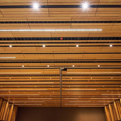 9Wood's 2100 Panelized Linear at the Hyatt Regency Seattle in Seattle, Washington. LMN Architects. The ballroom features 17,860 sq. ft. of custom acoustic panelized linear ceilings and 6,752 sq. ft. of custom acoustic panelized linear walls.
