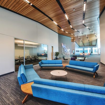 "9Wood's 2100 Panelized Linear in Solid Western Hemlock with Stain at Charles Schwab Campus in Austin, Texas. Page. The architect says the wood ceilings helped achieve ""a seamless interior and exterior experience."" They are key components of the ""gracious and interconnected public spaces,"" he says."