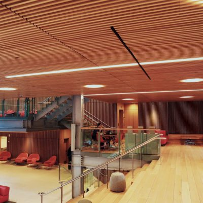 9Wood's 1100 Cross Piece Grille in FSC certified Solid European Beech with Clear Finish at The Smith Campus Center, Harvard University, Cambridge, Massachusetts. Hopkins Architects and Bruner/Cott Architects. The wood grille ceilings feature 1 in. by 2 in. FSC certified European beech (solid, clear, mixed grain) wood members. The suspension system used a 15/16 in. heavy-duty t-bar and hanger wires attached directly to the structure.