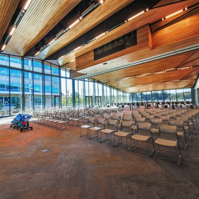 "9Wood's 2300 Continuous Linear in Solid Western Hemlock with Stain at Charles Schwab Campus in Austin, Texas. Page. Regarding the ceiling design, DPR Construction said, ""The ah-ha moment came when the owners said, ""That's what we wanted. It's absolutely beautiful."""
