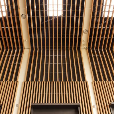9Wood 1100 Cross Piece Grille at Colonel Nesmith Readiness Center, Dallas, Oregon. Hacker Architects.