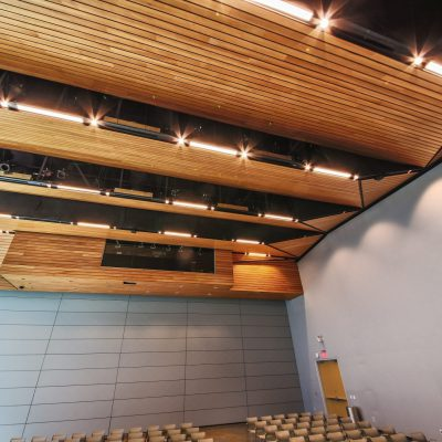 9Wood's 2300 Continuous Linear in Solid Western Hemlock with Stain at Charles Schwab Campus in Austin, Texas. Page. DPR Construction built a AV booth in the auditorium ceilings. The individual wood members are all ¾-inch by 5-¼ inch FSC certified solid western hemlock. The ceilings are suspended with hanger wires and 15/16-inch heavy-duty t-bar grid. The hardest part of the framing was the number of tiebacks required to ensure everything remained in place, DPR Construction says.