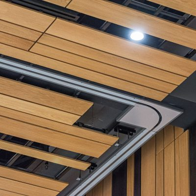 9Wood's 2100 Panelized Linear at the Hyatt Regency Seattle in Seattle, Washington. LMN Architects. The installation involved integrations with lighting fixtures, air diffusers and more.