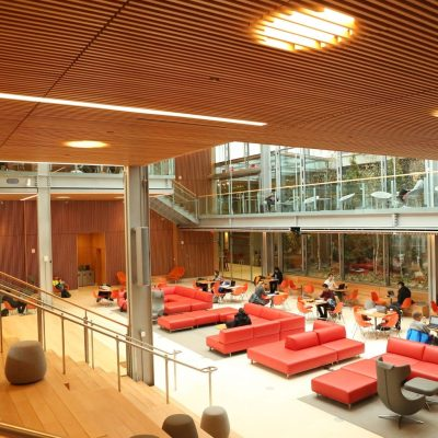 9Wood's 1100 Cross Piece Grille in FSC certified Solid European Beech with Clear Finish at The Smith Campus Center, Harvard University, Cambridge, Massachusetts. Hopkins Architects and Bruner/Cott Architects. Allan Construction installed the 18,075 sq. ft. wood grille ceilings from the beginning of July to late August 2018, — in time for the fall semester.