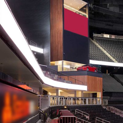 """9Wood's 2300 Continuous Linear in White Oak Veneer with stain at State Farm Arena in Atlanta, Georgia. HOK. The """"tower"""" walls wrap corners and span huge vertical heights."""