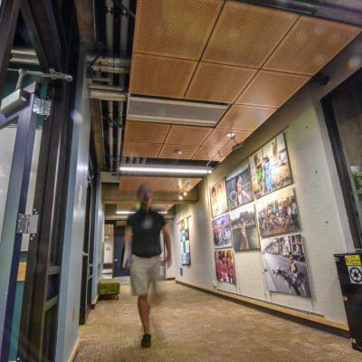 9Wood 5200 Staggered Perf Tile at Yamada Language Center, University of Oregon, Eugene, Oregon. Robertson Sherwood Architects.