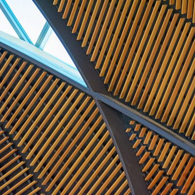 9Wood 1100 Cross Piece Grille at Ritchie School of Engineering, University of Denver, Denver, Colorado. AndersonMasonDale Architects.