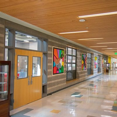 9Wood 1100 Cross Piece Grille at Joe Shoemaker Elementary School, Denver, Colorado. AndersonMasonDale Architects.