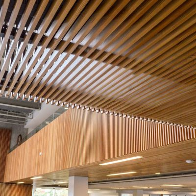 9Wood 1100 Cross Piece Grille at Clark Memorial Library, University of Portland, Portland, Oregon. Soderstrom Architects.