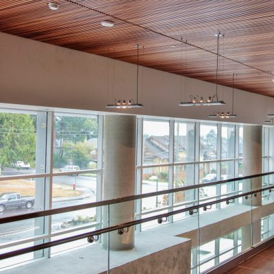 9Wood 1100 Cross Piece Grille at Hope Centre, Lions Gate Hospital, North Vancouver, British Columbia. IBI Group.