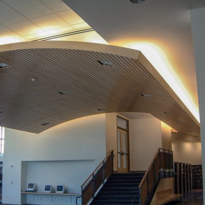 9Wood 8200 Linear Wood Wave at the Marin Academy Library, San Rafael, California. Studio Bondy Architecture.