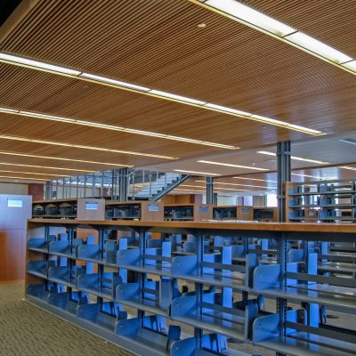 9Wood 1100 Cross Piece Grille at the Alameda Free Library, Alameda, California.  Hacker Architects.